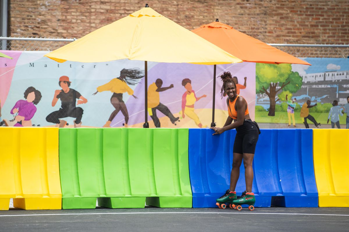 Mercedes Pickett, 29, skates at the outdoor roller rink in West Garfield Park on Friday, July 23, 2021.