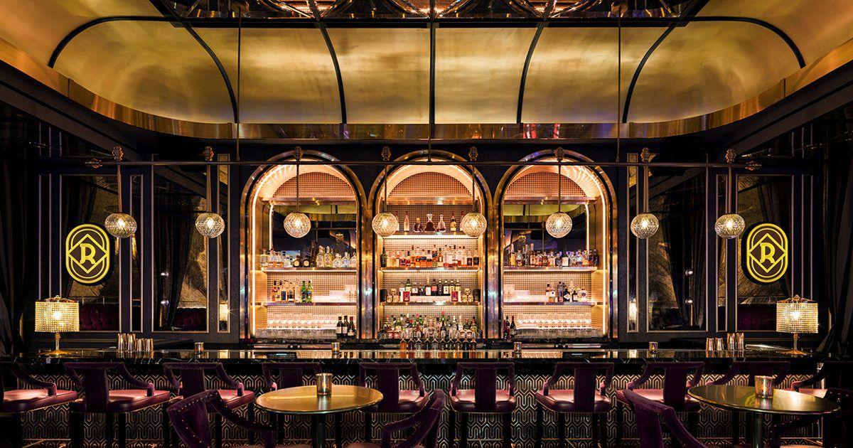 An Art Deco-inspired bar