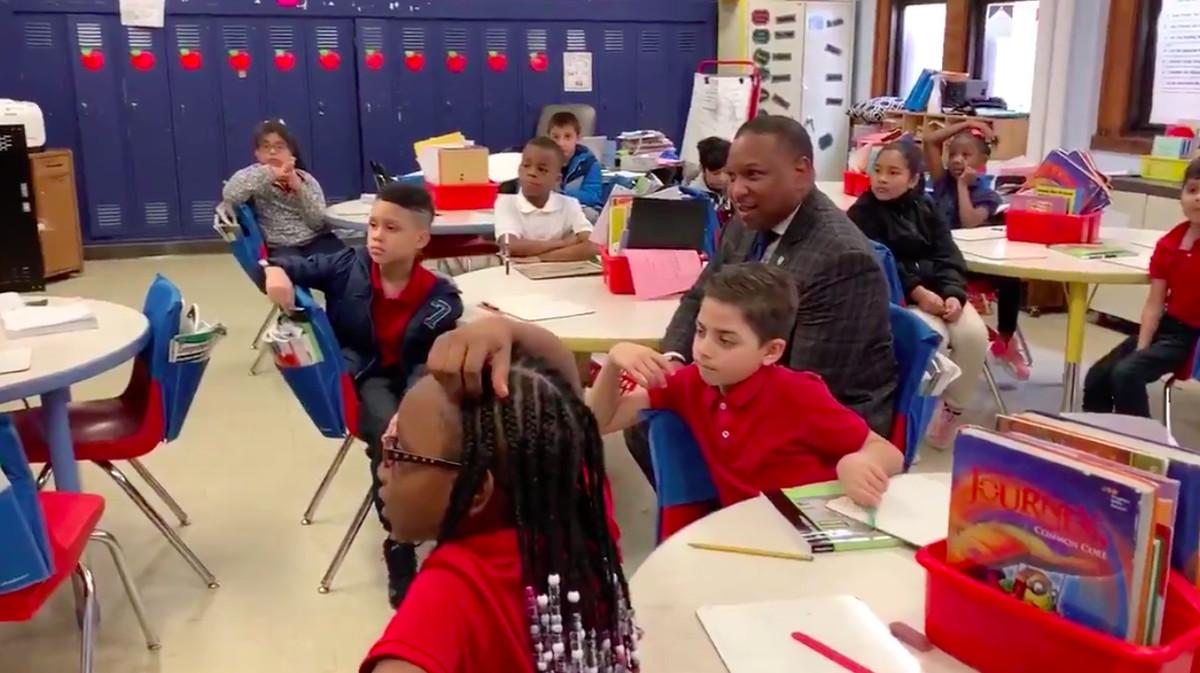 Superintendent Joris Ray visits Treadwell Elementary a day after many parents checked out their children from school early because an employee was quarantined after coming in contact with a COVID-19 patient.
