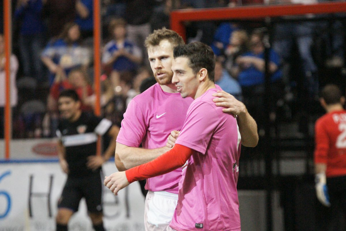 Lucas Rodriguez is congratulated by Brian Harris for his restart goal that ended up being the game winner