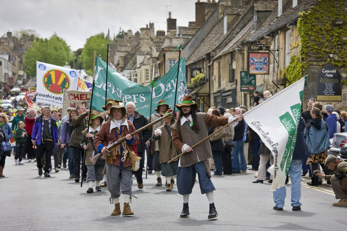 "Marchers in Burford, England, celebrate the ""levellers,"" who sought to overthrow monopolies in the 17th century."