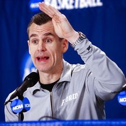 Florida head coach Billy Donovan talks at a press conference Wednesday before the Gators' practice in Oklahoma City for the first round game in the NCAA tournament against BYU.