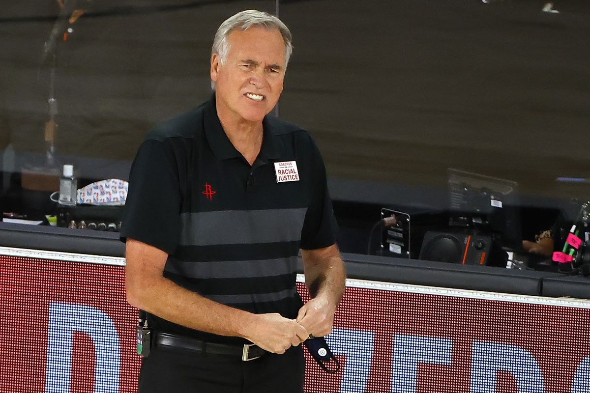 Mike D'Antoni of the Houston Rockets reacts against the Oklahoma City Thunder during the first quarter in Game Five of the Western Conference First Round during the 2020 NBA Playoffs at the Field House at ESPN Wide World Of Sports Complex on August 29, 2020 in Lake Buena Vista, Florida.