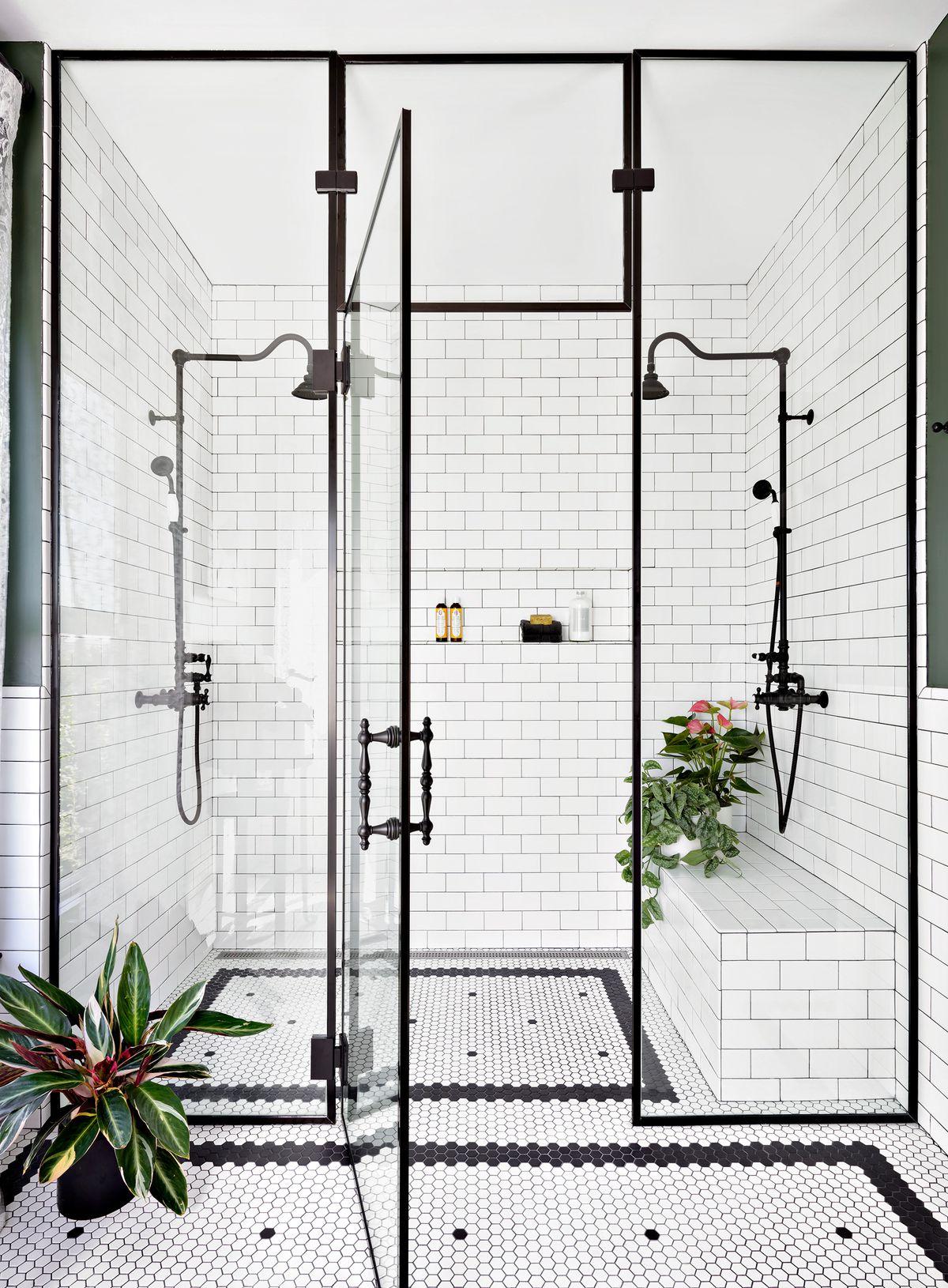 Standing glass shower.