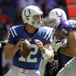 Indianapolis Colts' Andrew Luck looks to pass during the first half of an NFL football game against the Minnesota Vikings in Indianapolis, Sunday, Sept. 16, 2012.