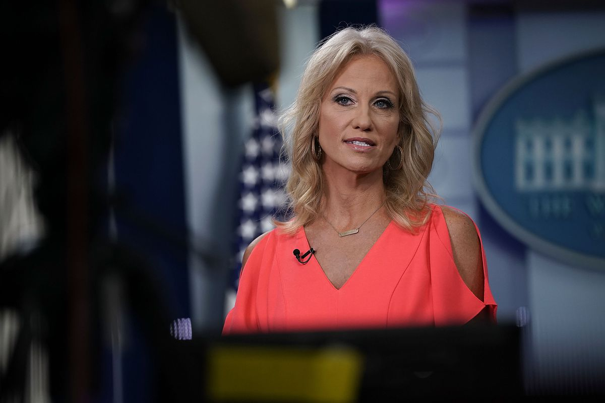White House adviser Kellyanne Conway, who has defended Supreme Court nominee Brett Kavanaugh, pictured during an interview in August