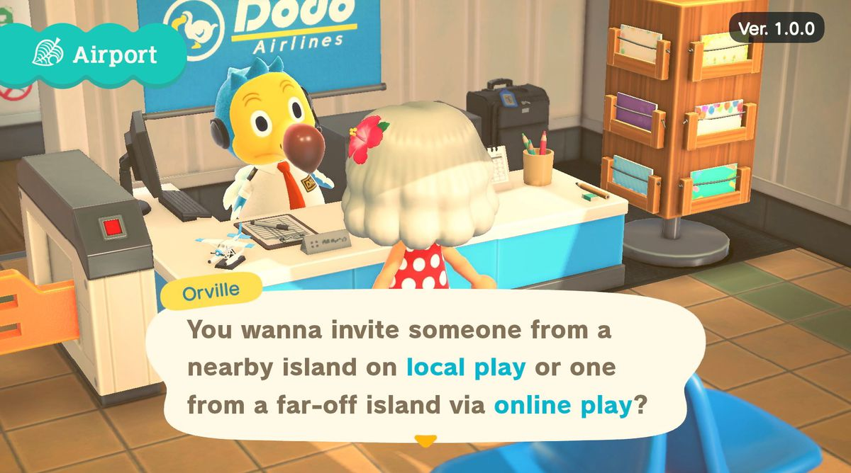 A blue and yellow dodo named Orville asks the player if they want to connect using local or online play