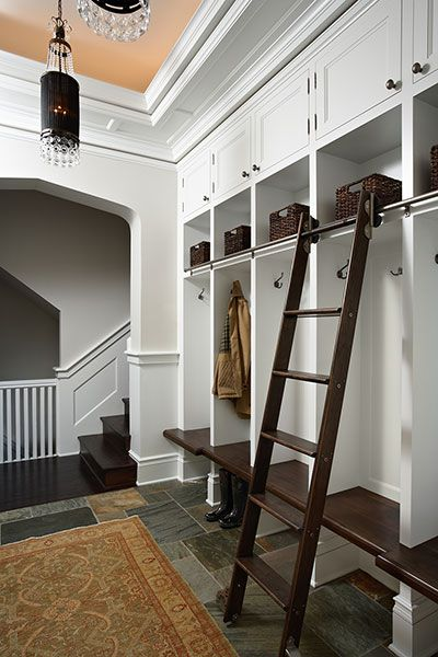 Mudroom With Rolling Library Ladder