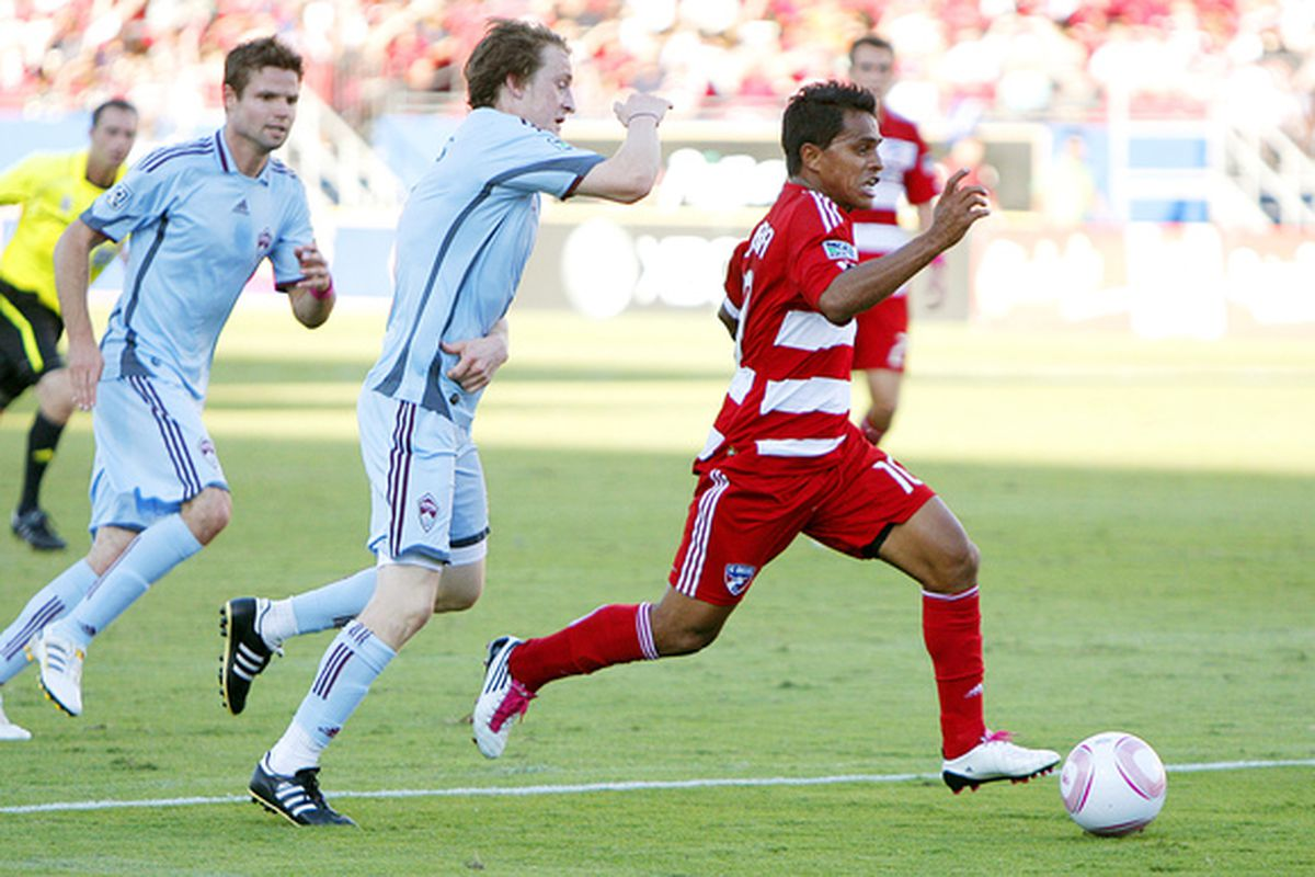 FRISCO, TX - OCTOBER 9:  David Ferreira #10 of FC Dallas breaks past the defense of the Colorado Rapids at Pizza Hut Park on October 9, 2010 in Frisco, Texas. Ferreira would score on the play. (Photo by Brandon Wade/Getty Images)