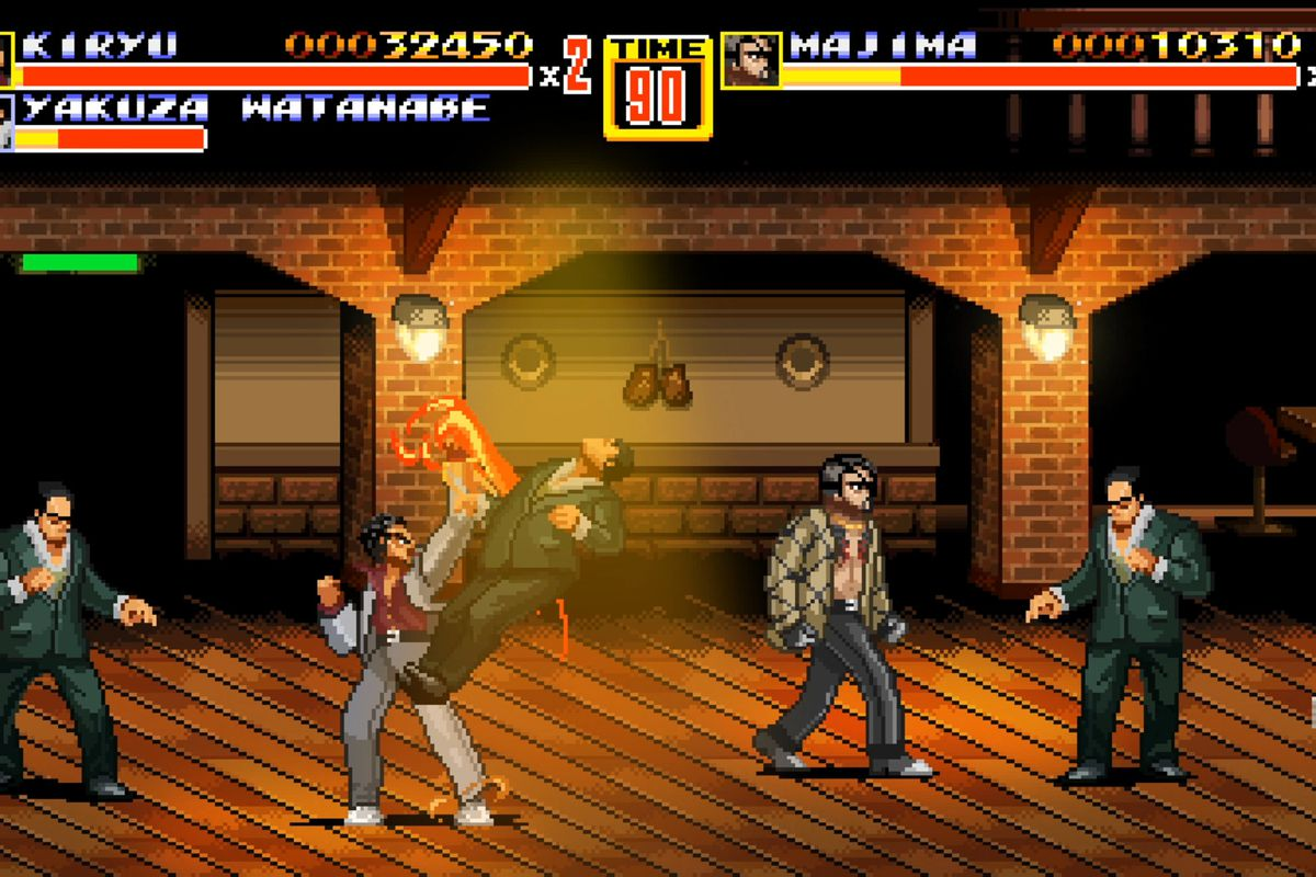 screen from the Streets of Rage/Yakuza throwback mashup called Streets of Kamuracho