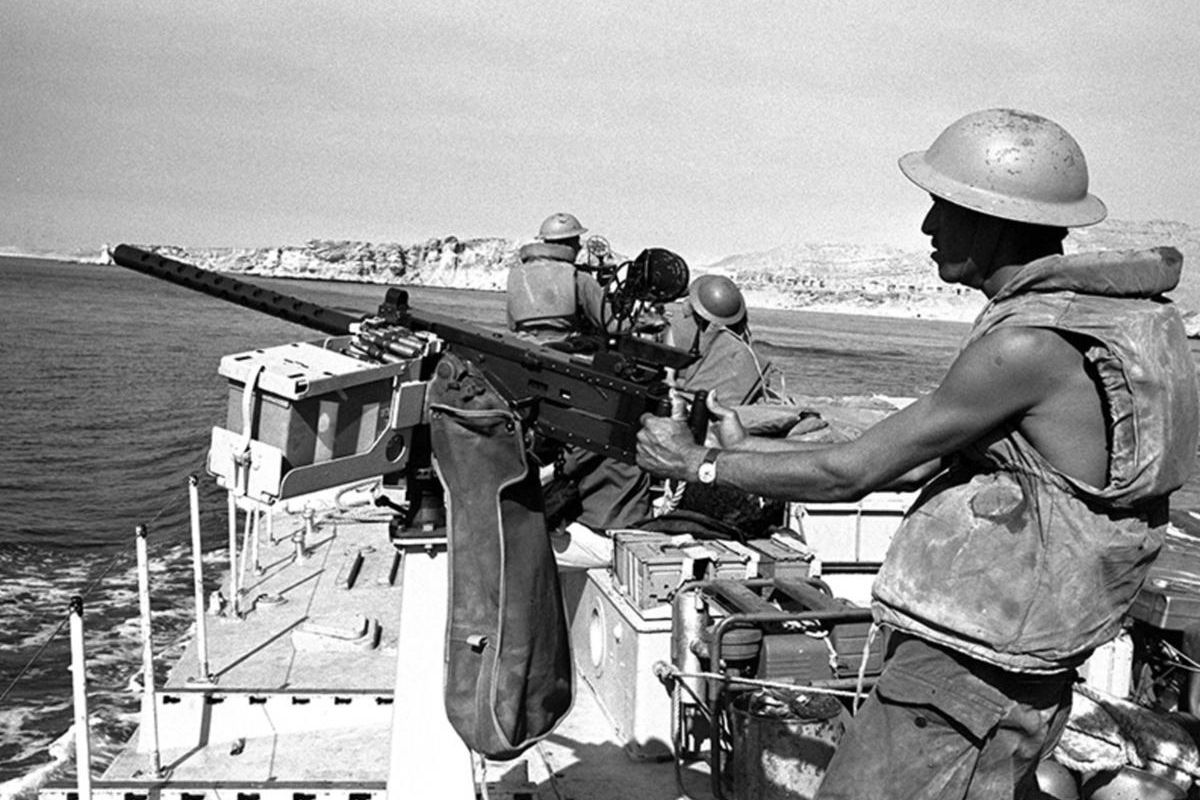 An Israeli gunboat passes through the Straits of Tiran near Sharm el-Sheikh, Egypt, on the southern tip of the Sinai Peninsula, on June 8, 1967, during the Six-Day War.