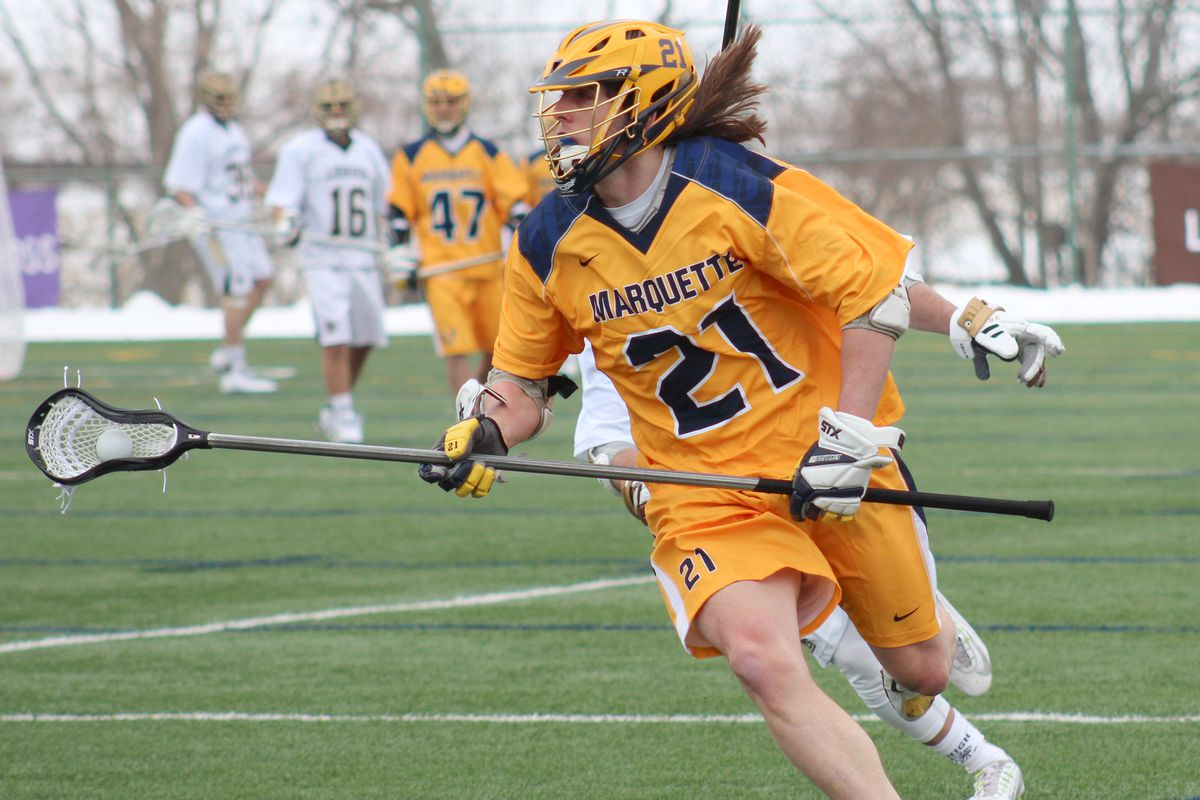 Long stick midfielder Liam Byrnes leads Marquette with 12 caused turnovers this season.