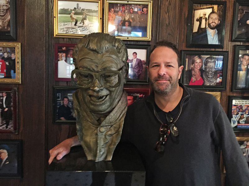 """Rich Cohen, author of """"Pee Wees: Confessions of a Hockey Parent"""" at Harry Caray's restaurant on Kinzie. 