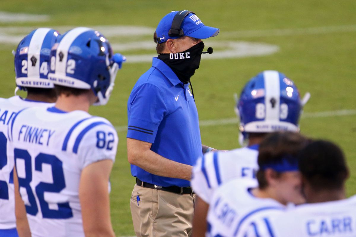 Head coach David Cutcliffe of the Duke Blue Devils in the second half during a game against the Virginia Cavaliers on September 26, 2020 in Charlottesville, Virginia.