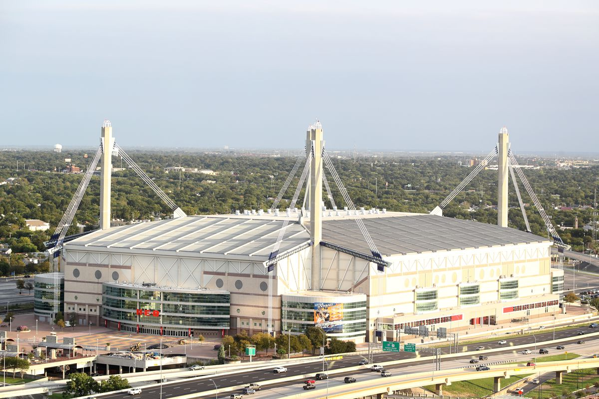 A general view of the exterior of the Alamodome on October 11, 2017 in San Antonio, Texas.