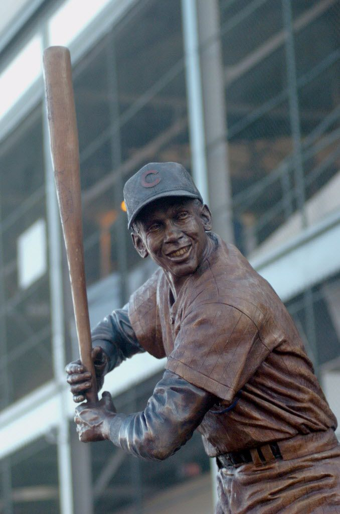 The Ernie Banks statue on Clark St. just outside of Wrigley Field…. Brian Jackson/Sun-Times library