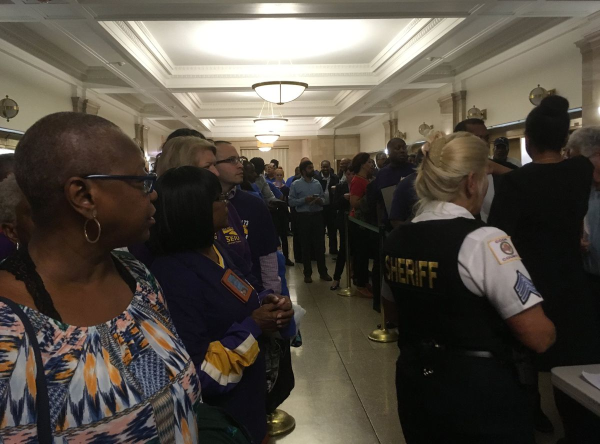 About 100 people couldn't get into Wednesday's Cook County Board meeting. | Stefano Esposito/Sun-Times