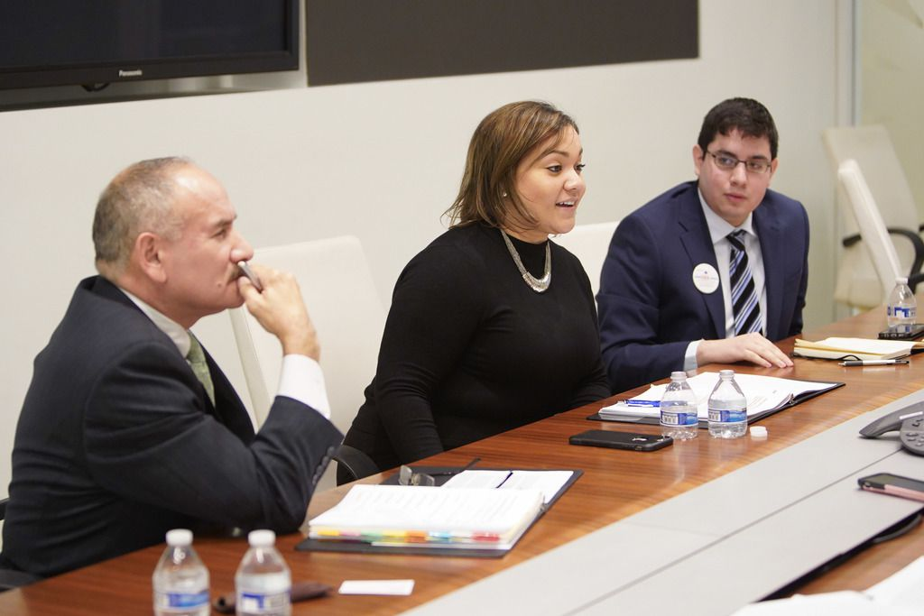 """From left, 30th Ward aldermanic candidate and incumbent Ariel E. Reboyras and challengers Jessica W. Gutierrez and Edgar """"Edek' Esparza met with the Sun-Times Editorial Board Friday, January 4, 2019. 