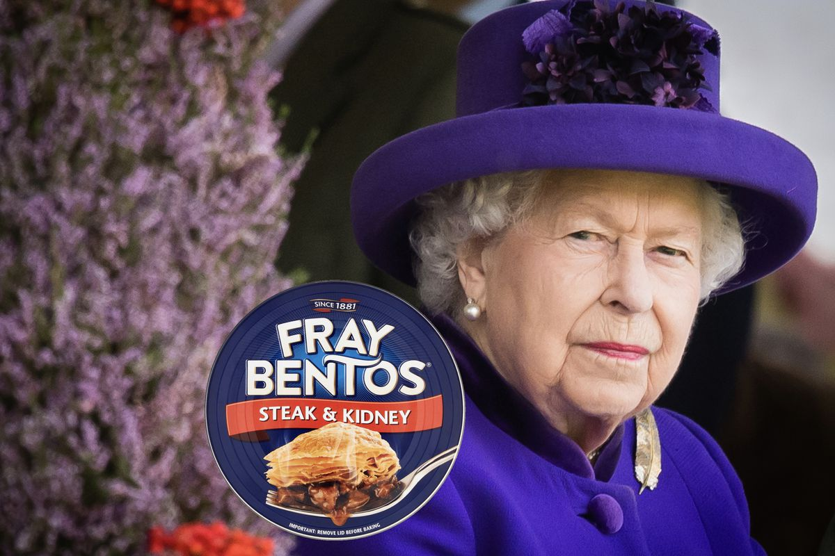 Queen Elizabeth II, wearing purple at an event in Scotland, with a Fray Bentos pie photoshopped in to illustrate her love of the pie on planes