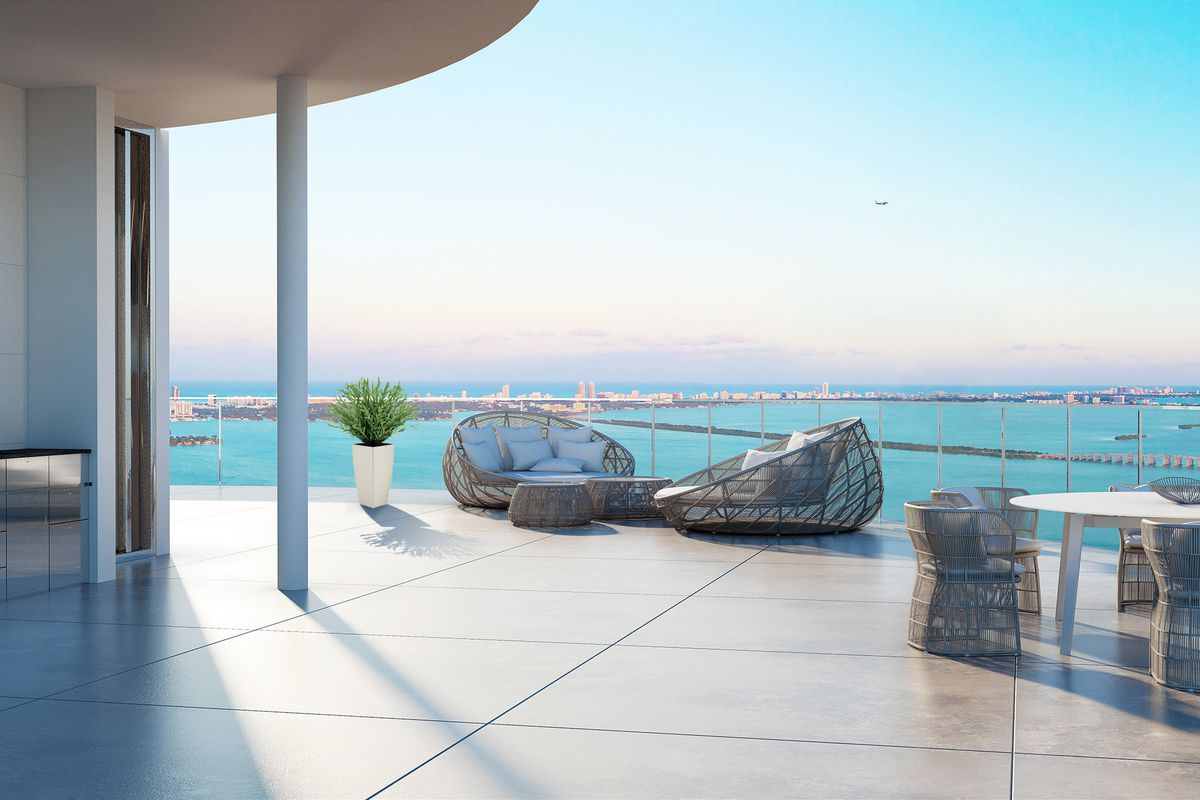 A rendering of the Aria on the Bay penthouse's rooftop terrace