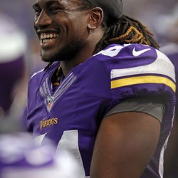 Aug 9, 2013; Minneapolis, MN, USA; Minnesota Vikings wide receiver Cordarrelle Patterson (84) smiles during the second quarter against the Houston Texans at the Metrodome.