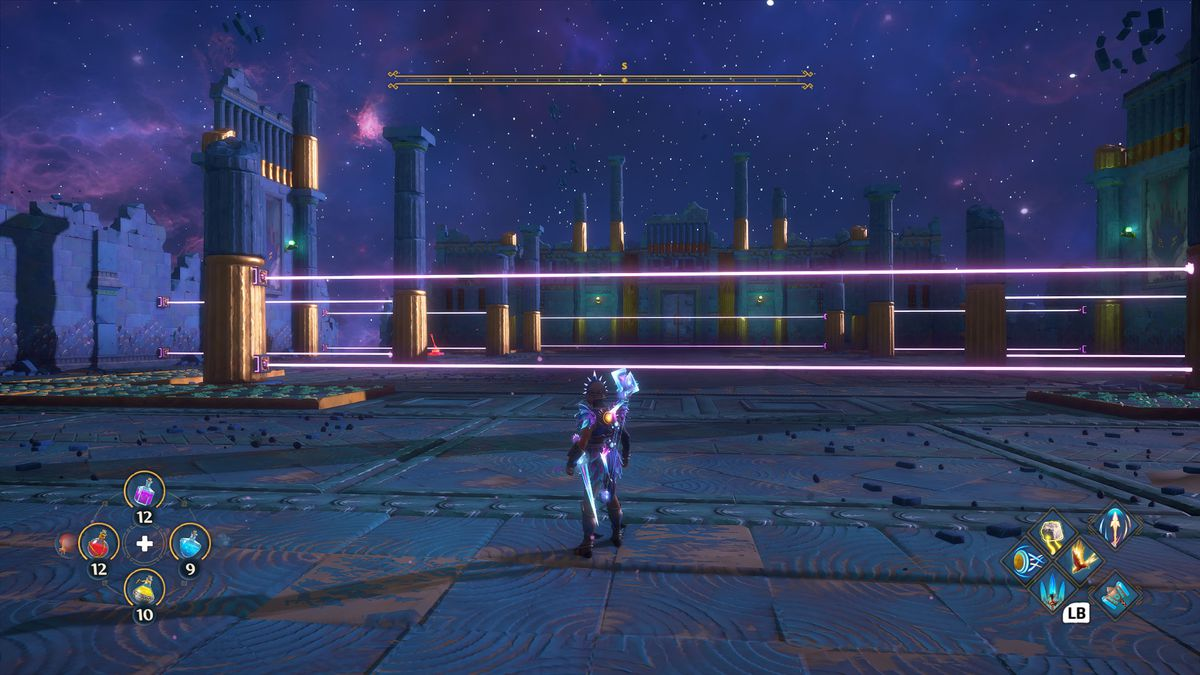 An arena full of lasers in Immortals Fenyx Rising