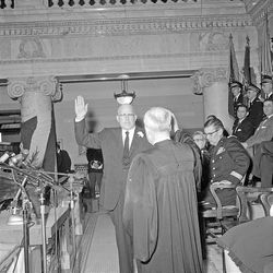 George Dewey Clyde is sworn in as Utah's 10th governor at the State Capitol on Jan. 7, 1957.