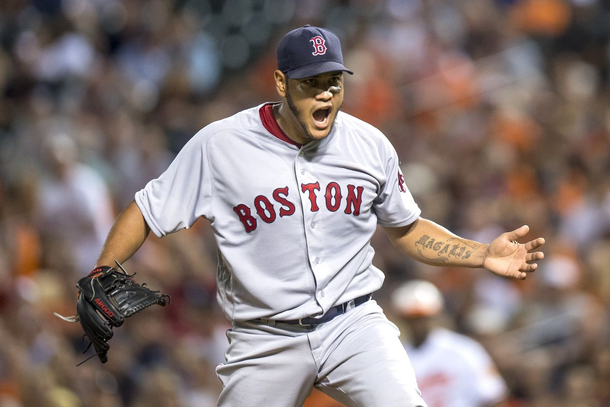 Eduardo Rodriguez of the Boston Red Sox reacts during the seventh inning of a game against the Baltimore Orioles on September 20, 2016 at Oriole Park at Camden Yards in Baltimore, Maryland.