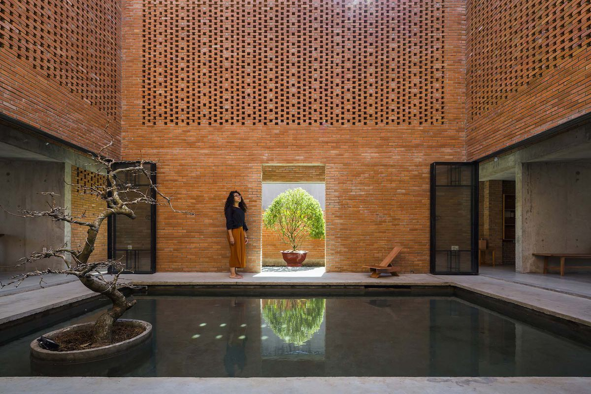 Reflection pool inside brick courtyard