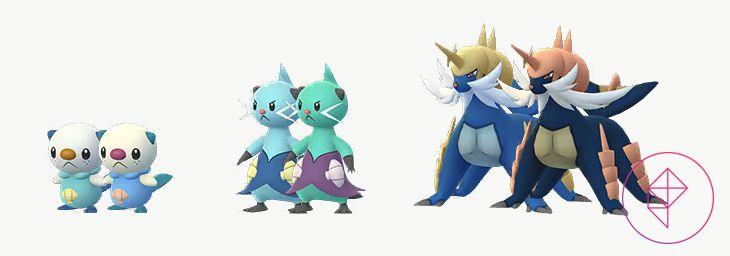 Shiny Oshawott, Dewott, and Samurott with their normal forms. Shiny Oshawott is more blue than teal, Shiny Dewott is more teal than light blue and Shiny Samurott is a darker blue.