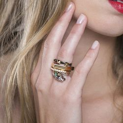 """Iosselliani Panther Stacking Rings, <a href=""""http://covetandlou.com/collections/accessories/products/iosselliani-panther-stacking-rings"""">$304</a>"""