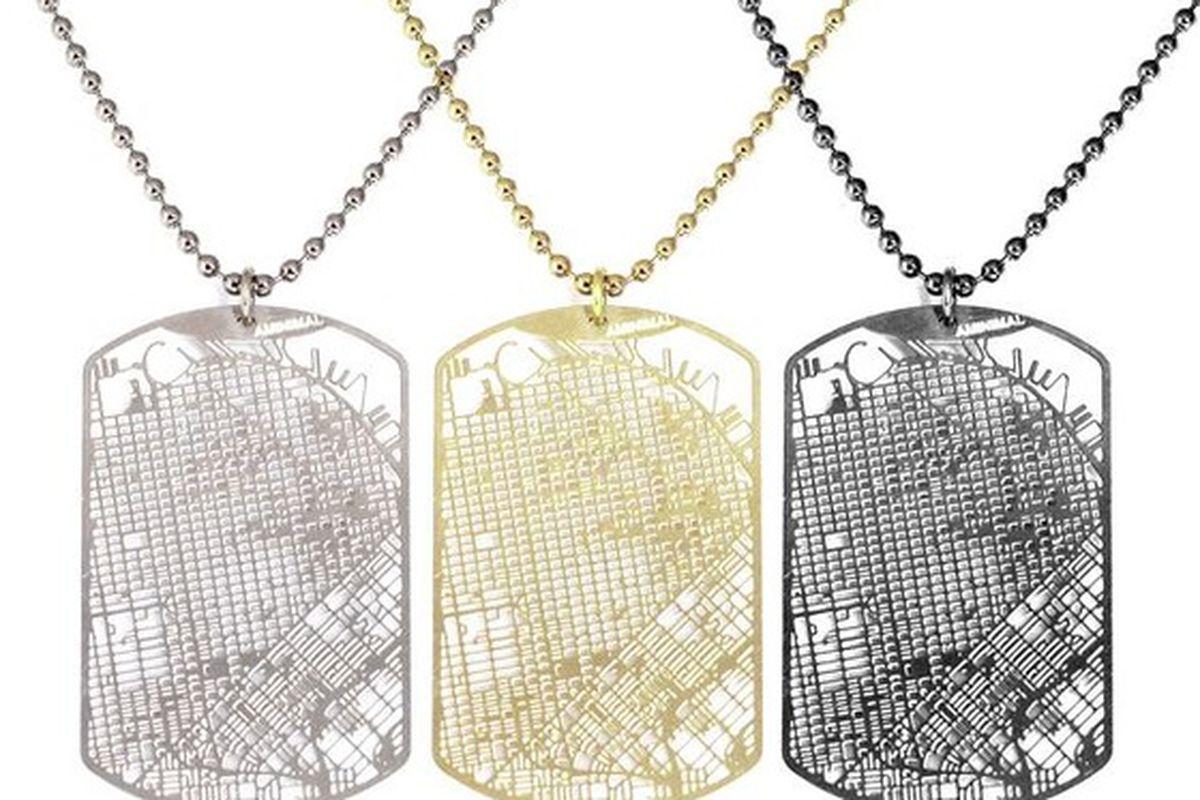 "Urban Gridded Dogtags, $50 to $100. Image via Kickstarter/<a href=""https://www.kickstarter.com/projects/aminimal/urban-gridded-dogtag-jewelry-collection"">Aminimal Studio</a>"