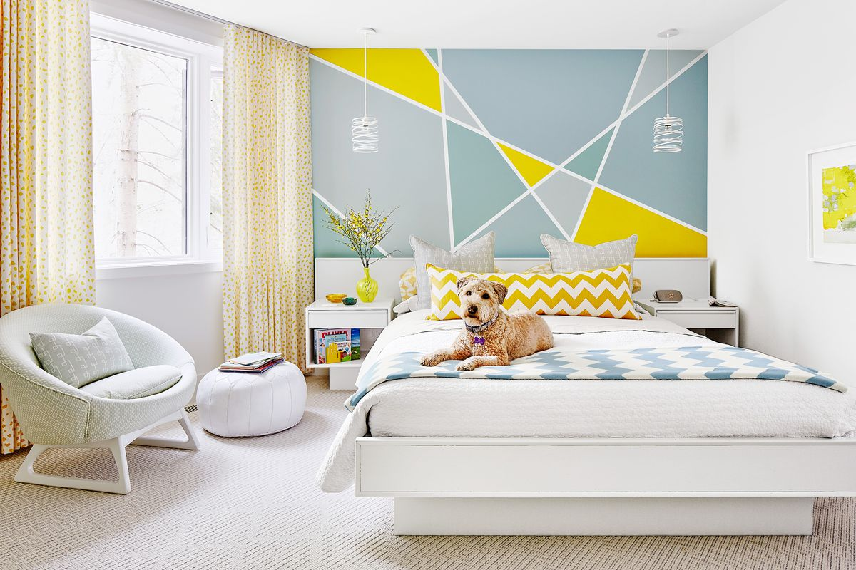 Paint a Simple Geometric Pattern on Your Bedroom Wall ...