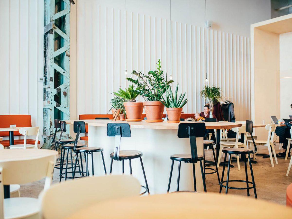 inside of bright white cafe
