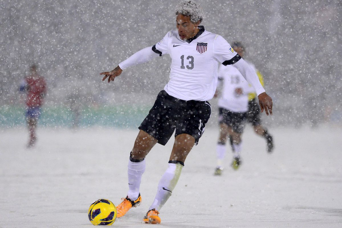Tonight's match obviously won't be in the snow, but how could I not post this photo, huh? How?!