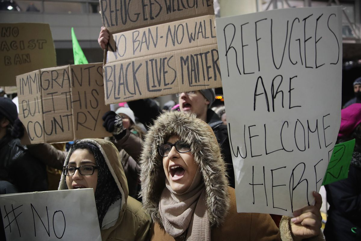 Protestors Rally At Chicago's O'Hare Airport Against Muslim Immigration Ban