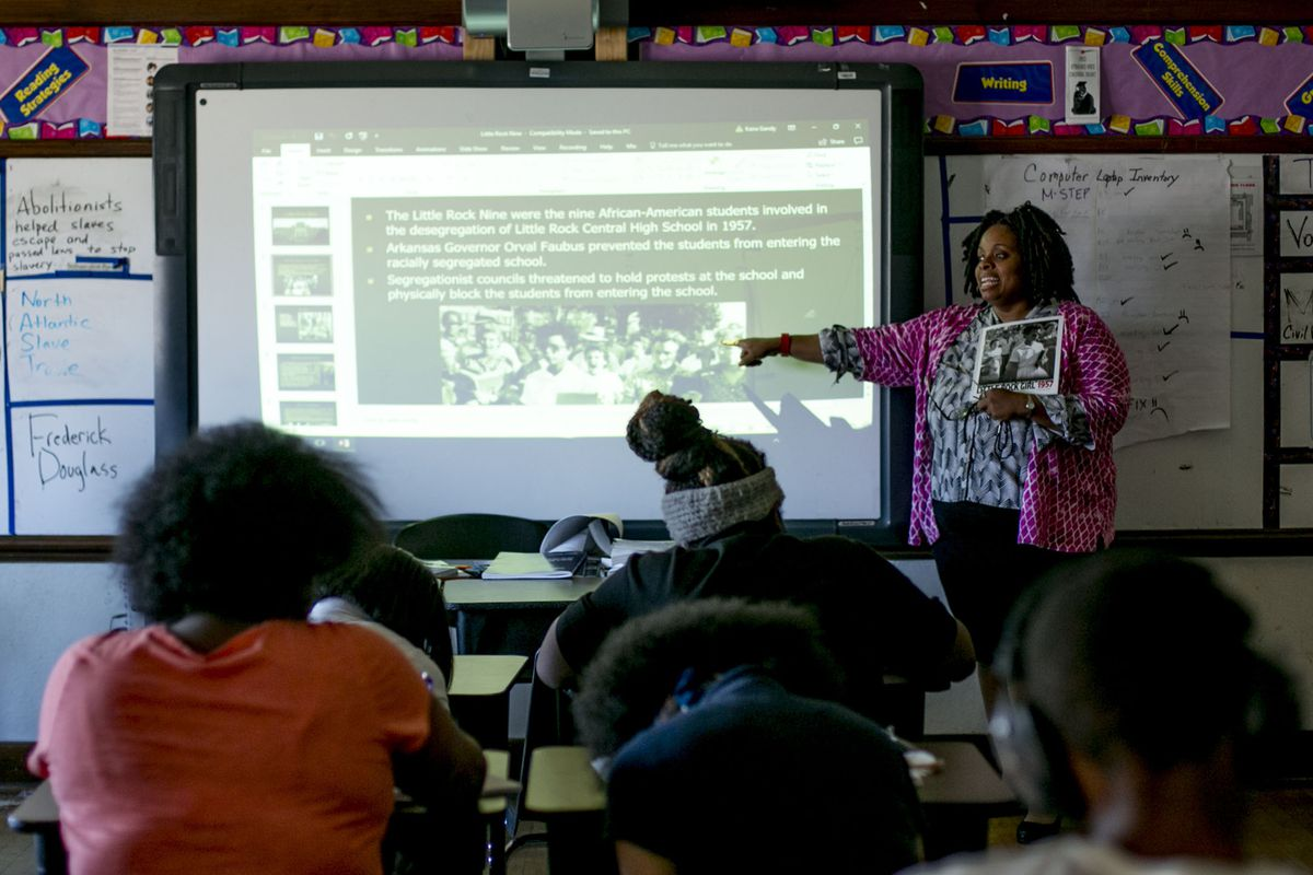 """Kaira Gandy, a seventh- and eighth-grade English teacher at Detroit's Bethune Elementary-Middle School, said she needs two weeks to get to know a new student. """"Some of them are like Oliver Twist,"""" she said. """"They are used to being orphans."""""""