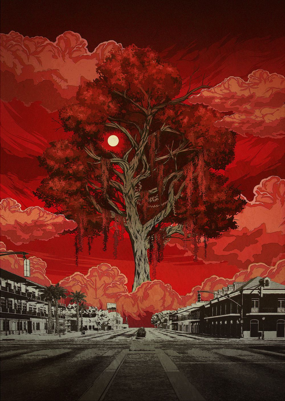 Deadly Premonition 2: A Blessing In Disguise key art showing the moon thawing through a tree against a blood-red sky