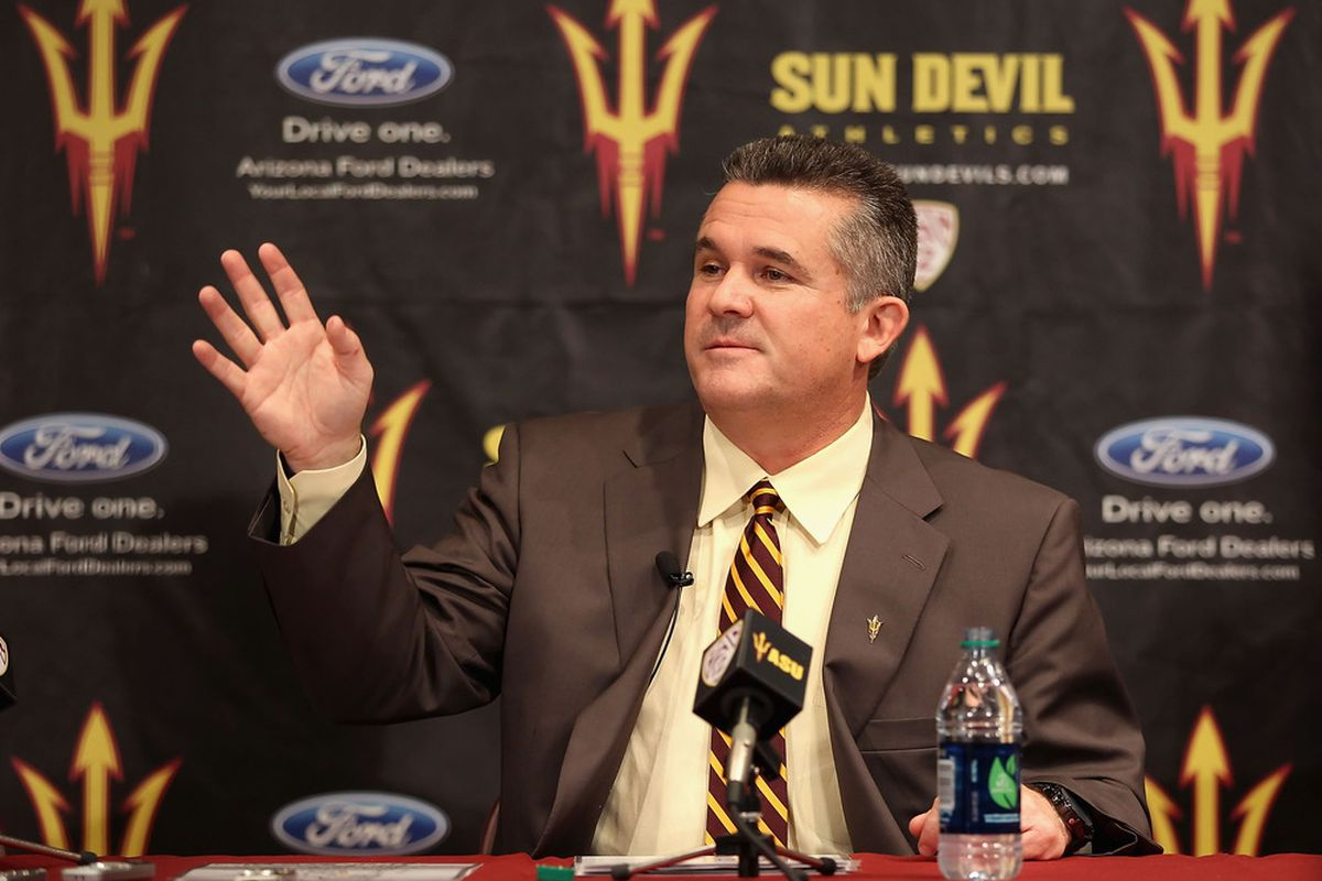 <strike>Rice Tulsa Pitt </strike>Arizona State head coach Todd Graham waves to Steve Pederson during his news conference at somewhere that isn't in Pennsylvania.