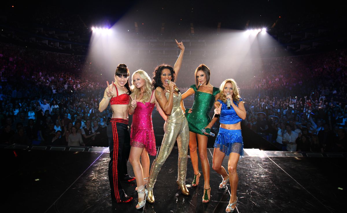 The Spice Girls in their Roberto Cavalli (not Versace!) tour looks in 2007.