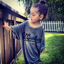 Alaia wearing her daddy's tee by SLBARBIER (kids line coming soon!)