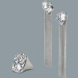 Crystal stone ring in silver, $14.99; crystal stone tassel earrings in silver, $16.99