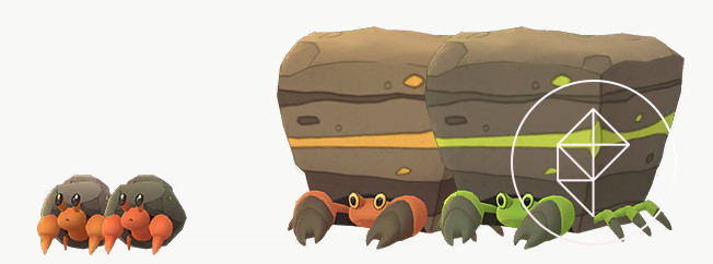 A comparison of Shiny and normal Dwebble and Crustle. Shiny Dwebble is a slightly darker red and Shiny Crustle is green.