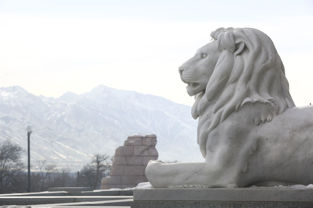 FILE - A stone lion guards one of the entrances to the Capitol in Salt Lake City on Friday, Jan. 25, 2019.