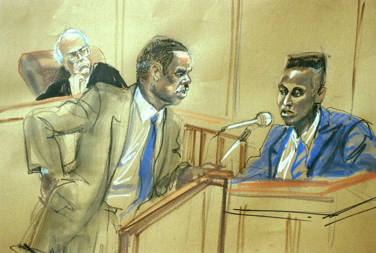 Yusef Salaam, age 16, answers questions put to him by his attorney, Robert Burns, center, as Judge Thomas Galligan listens in State Supreme Court in Manhattan, August 1, 1990. Salaam was the first defendant in the Central Park rape case to take the stand