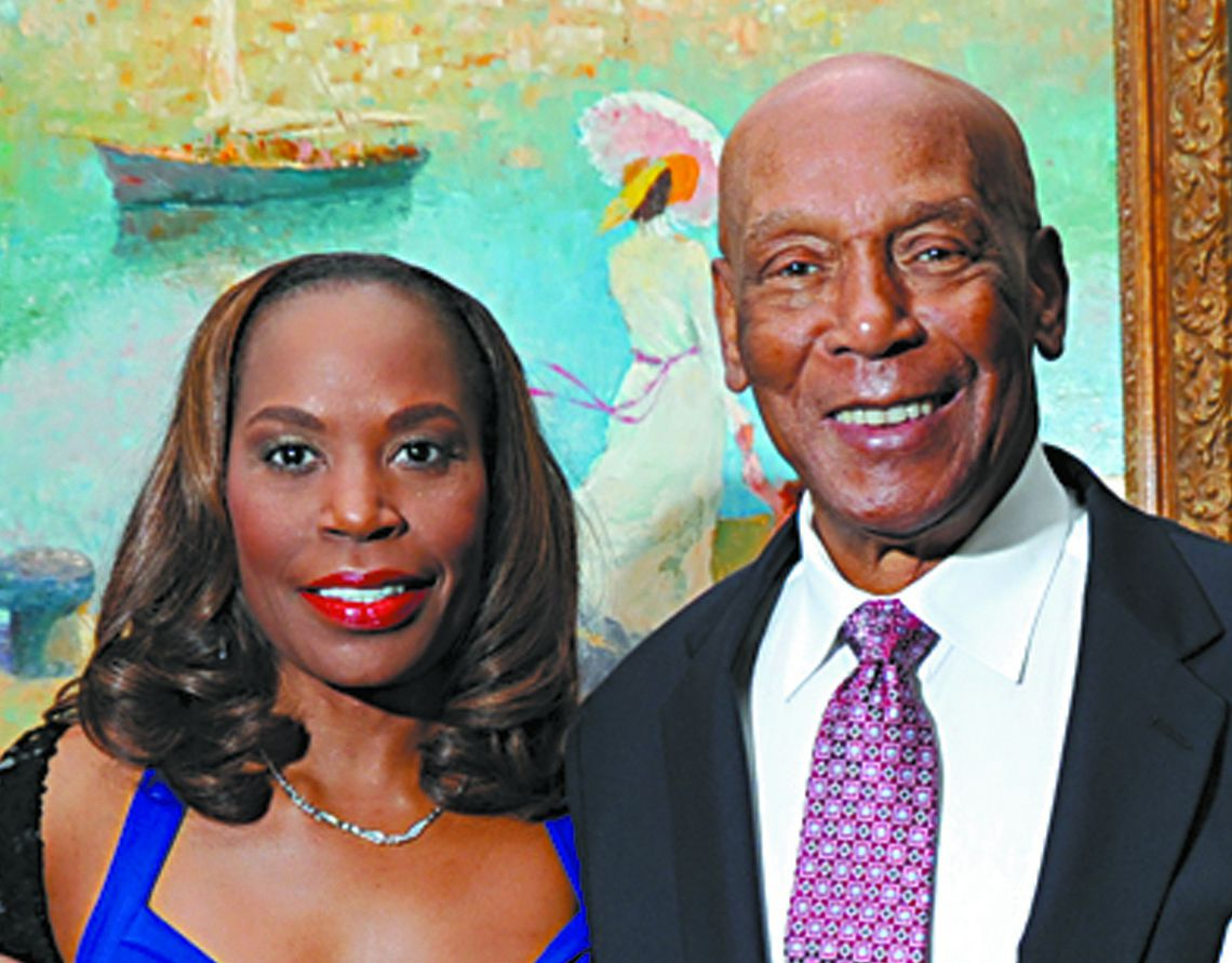 <strong>Ernie Banks and his wife, Liz, at an event in 2010. | Sun-Times file photo</strong>