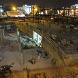 10:38 p.m. Another night view of the triangle lot -