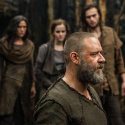 """(Left to right) Leo McHugh Carroll is Japheth, Jennifer Connelly is Naameh, Emma Watson is Ila, Russell Crowe is Noah and Douglas Booth is Shem in """"Noah,"""" from Paramount Pictures and Regency Enterprises."""