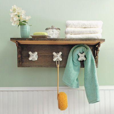 Towel Rack With Vintage Taps