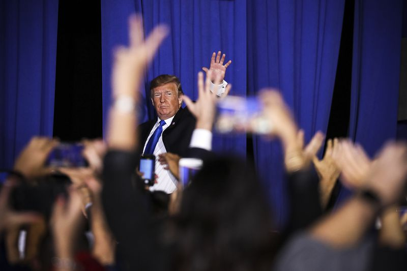 President Trump attends a rally at Florida International University on February 18, 2019 in Miami, Florida.